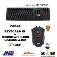 PAKET KEYBOARD HP + MOUSE ASUS GAMING WIRELESS 2.4GHZ - 100% NEW