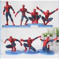 Spiderman Action Figure Set 7pcs Mainan Anak Laki Pajangan Hiasan Kue - Set 1 isi 7 Pcs