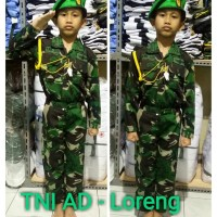Baju/kostum/stelan profesi TNI AD baret hijau anak size 1-4 (tk)