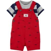 Baby Overall Set - Red Car / Jumpsuit Tee Baju Bayi Laki Cowok