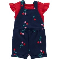 Baby Overall Set - Red Cherry / Jumpsuit Tee Baju Bayi Perempuan