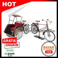 Paket isi 2 - Miniatur Becak & Sepeda Ontel Logam Kawat