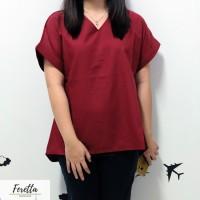 Red Reglan Blouse | Blouse Merah Wanita | Baju Atasan Imlek Wanita