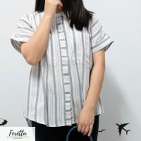 BEST SELLER Grey White Striped Blouse   Blouse Putih Abu Garis-Garis