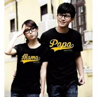 KAOS BAJU COUPLE PAPA MAMA GOLD