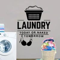 Stiker Dinding Ruang Cuci Pakaian Laundry Wall Sticker Murah 12 - Putih