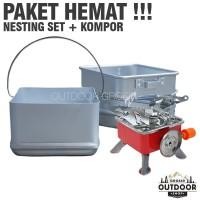 PAKET HEMAT - Nesting Set 3 Panci + Kompor Kotak Kovar Camping Outdoor