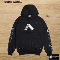 Jaket Hoodie Jumper Casual Hypebeast Off-White X Champion Black
