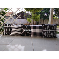 PINKIIPO - Sarung Bantal Sofa 40x40 [Colorful Black]