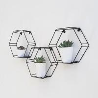 Rak Pot Bunga Dinding Hexagonal, Hiasan Dinding Hexagon Industrial - Putih