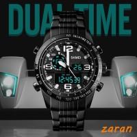 zri SKMEI Stainless Steel Strap Double Time Sport Watch 30M Waterproof