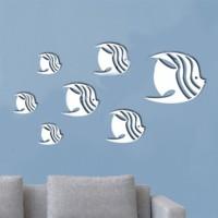 7Pcs Stiker Dinding Motif Print Ikan 3D Bahan Cermin Warna Silver