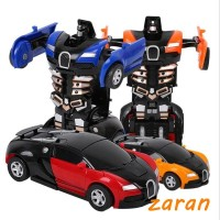 zri Mini Cartoon Deformation Car Inertial Transformation Robots Toys