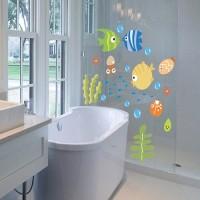 Stiker Dinding Desain Kartun Ikan livecity untuk Kamar Anak