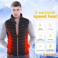 zri Men USB Charging Heated Vest Jacket Clothing Skiing Winter Jacket