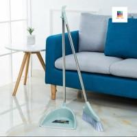 Sapu Plus Pengki Set - Broom Dustpan Set - Pembersih Rumah Set - Blue