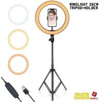 Ring Light 26cm LED Lampu Bundar Ringlight live vlog tiktok youtuber