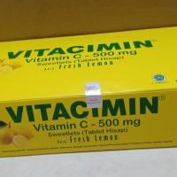 Vitacimin 500mg rasa jeruk orange lemon vitamin C tablet hisap 100