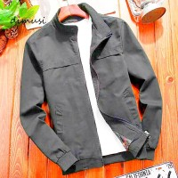 jaket pria bomber/jaket pria casual/jaket harrington /jaket formal - Abu-abu, S