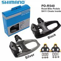 PEDAL CLEAT SEPEDA SHIMANO PD R540 ROADBIKE ORIGINAL +TAPAL CLEAT SH11