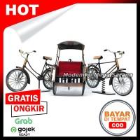Paket isi 3 - Miniatur Becak Sepeda Ontel Logam Kawat Laki Perempuan