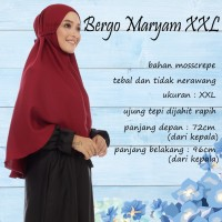 Bergo Maryam Tali Size XXL bahan mosscrepe, Jilbab Instan