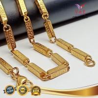 Kalung Titanium Emas motif Asli Batangan 75cm - VeE Kalung Pria Wanita