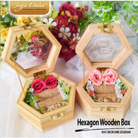 Kotak Cincin Unik Segi 6 / Ring box / Box Cincin / Mahar Kayu