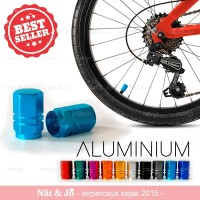 2 pcs Tutup Pentil Ban Sepeda Aluminium Aksesoris Sepeda Biru Muda