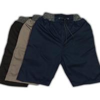 Celana pendek pria model kolor ukuran L - Hitam