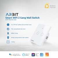 ARBIT Wifi Smart Wall Switch / Saklar works with Alexa Google 2 Gang