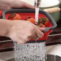 Baskom Lipat Silicon / Keranjang Cuci Sayur dan Buah Ukuran Besar