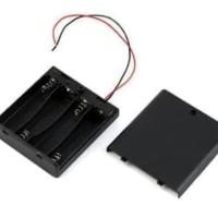 4x AA Battery Holder Baterai Case Batere Box Kotak + Tutup Saklar onof