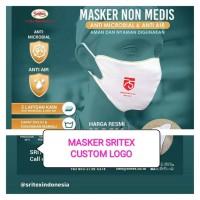 Masker kain STRITEX Khusus Custom Logo Design Bebas 2ply anti air