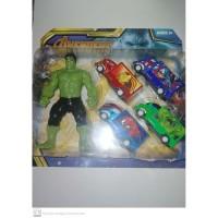 Mainan Anak-Action Figure Avengers infinity war-Hulk + 4 Mobil