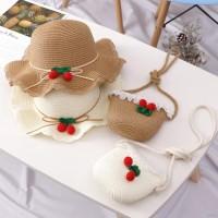 2Pcs / Set Topi Jerami Princess Anyam untuk Pantai / Travel