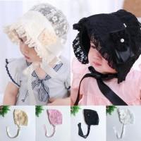 Topi Model Princess dengan Bahan Katun dan Hiasan Renda untuk