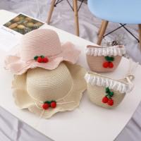 2Pcs / Set Topi Jerami Princess Anak Perempuan + Tas Handbag Cantik