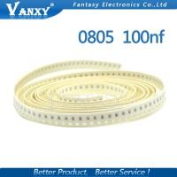 100Pcs Kapasitor Keramik Multilayer 100nf x7r 10% 50V 0805 0.1uF 104