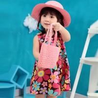Topi Jerami Princess Anak Perempuan Aksen Bunga untuk Pantai / Musim