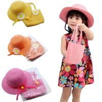 2Pcs / Set Topi Jerami Princess Anak Perempuan Aksen Bunga + Tas