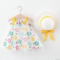 Set Dress Princess Tanpa Lengan Print Bunga Bahan Mesh+Topi Untuk