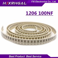 100Pcs Kapasitor Capacitor 1206 100nf x7r 10% 50V 0.1uF 104 1206 SMD