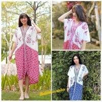 Kaftan Dress Batik. Terusan Batik midi - Hummingbird White mix