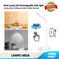 Lampu Meja Baca Belajar LED USB 360° Baterai Isi Ulang Cahaya Sejuk - Putih