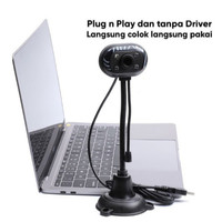 Webcam Stand Lampu LED Microphone Web Cam PC Laptop MIC Built In