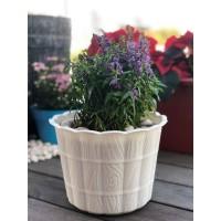 Pot Bunga Plastik motif kayu 25 cm putih