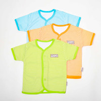 Baju Pendek bayi salur-Blessing babywear-SIZE:S-M-L(isi Set 3 pcs)