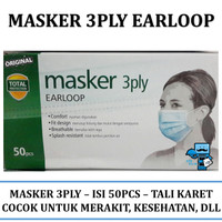 Masker Pemeriksaan / Examination Mask 3 Ply - Tali Karet Aman Isi 50