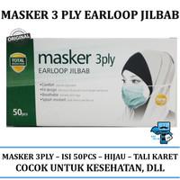 Masker Hijab - Masker 3 Ply untuk Wanita Berhijab - Masker Tali